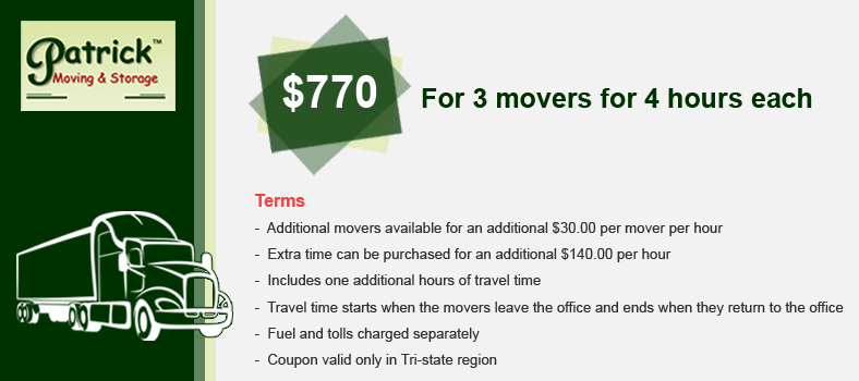 Coupons - Patrick Movers in the Bronx -Best Moving Companies Bronx NY